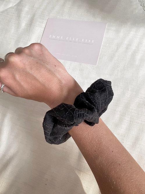 Linen Scrunchie | Embroidered Black