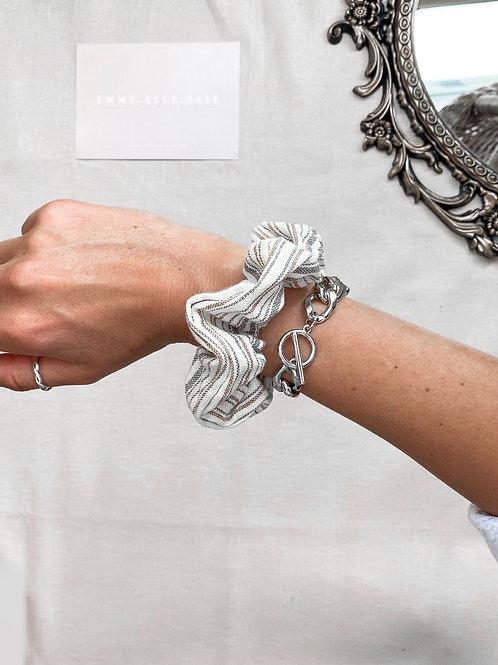 Striped Linen Scrunchie   Multi