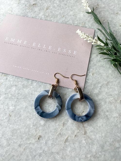 Marbled Resin Earrings   Ocean