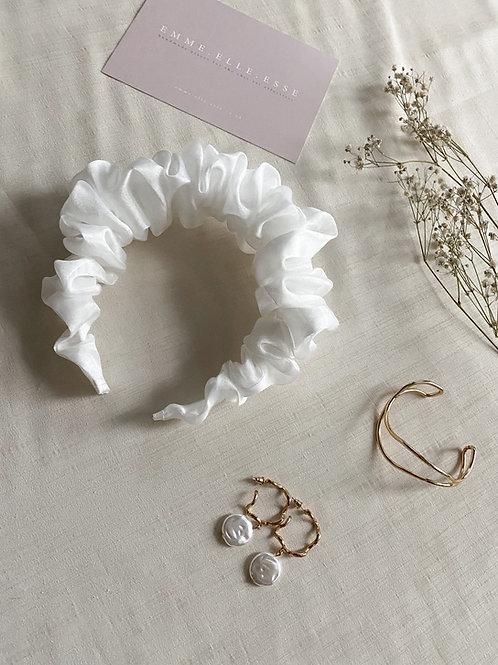 Bridal Organza Scrunchie Headband | Ivory