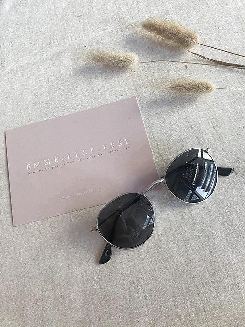 Silver & Black Round Sunglasses