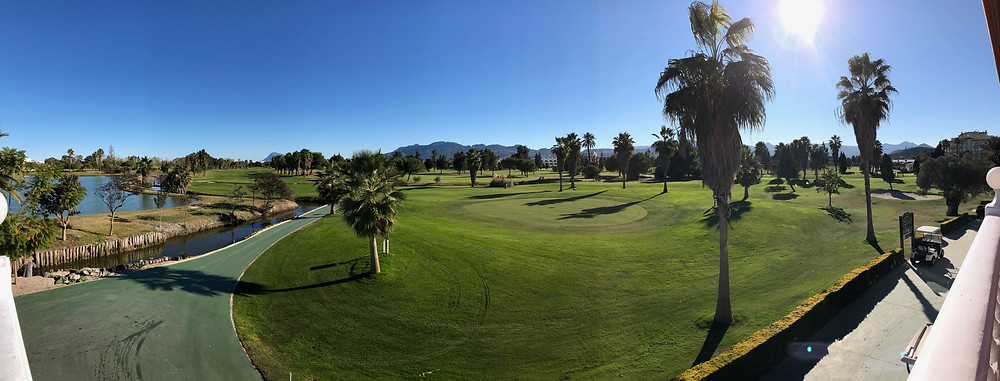 Oliva Nova - 9th green from the clubhouse at the end of another great golf tour