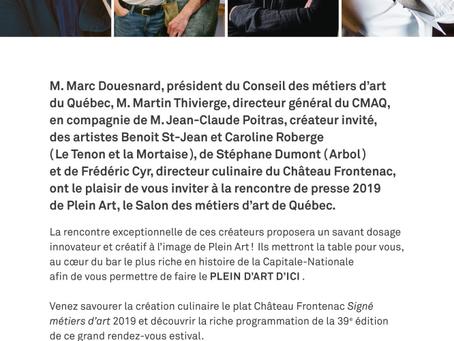 RAPPEL / INVITATION AUX MÉDIAS/ Ce matin, Rencontre de presse au Fairmont  Plein Art 2019 mardi 16 j