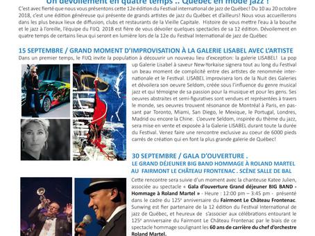 Pour diffusion immédiate/ communiqué de presse Un dévoilement en quatre temps .. Québec en mode jazz