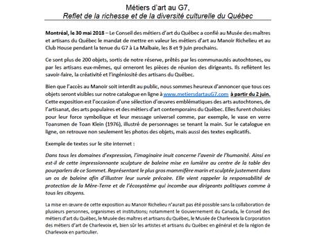 NOUVELLE TAPAGEUSE/ Les Métiers d'art au G7!