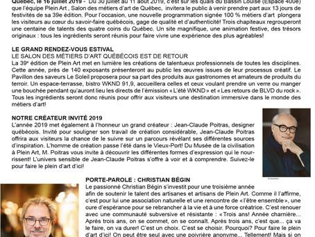COMMUNIQUÉ Pour diffusion immédiate/ FAITES LE PLEIN D'ART D'ICI AVEC PLEIN ART, LE SALON DES MÉTIER