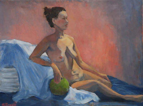Nude with Green Ball, figure, impressionism
