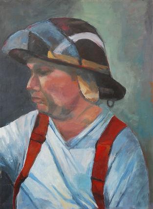 Firefighter, hardhat, suspenders, portrait