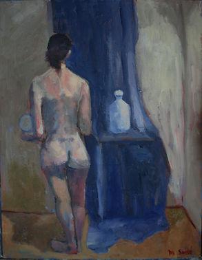 Nude, blue drape, back
