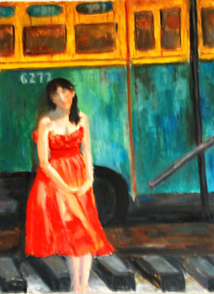 Waiting For The Train, girl in red dress
