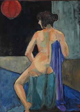 Back, nude, blue drape