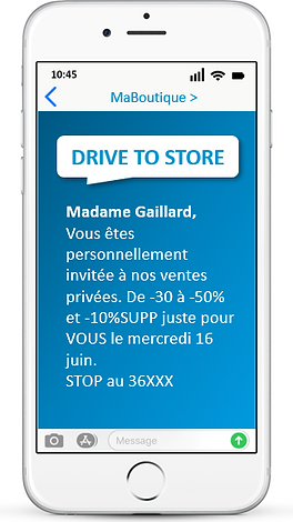 CAMPAGNE SMS drive to store retail