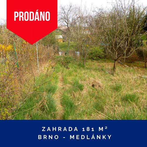 Prodej zahrady Brno, Medlánky
