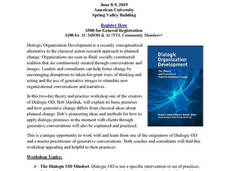 Dialogic OD & Generative Meaning-Making in Action Workshop w/ Dr. Marshak