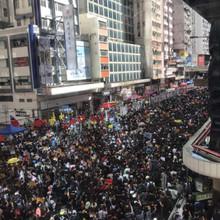 香港理工大学でのデモ