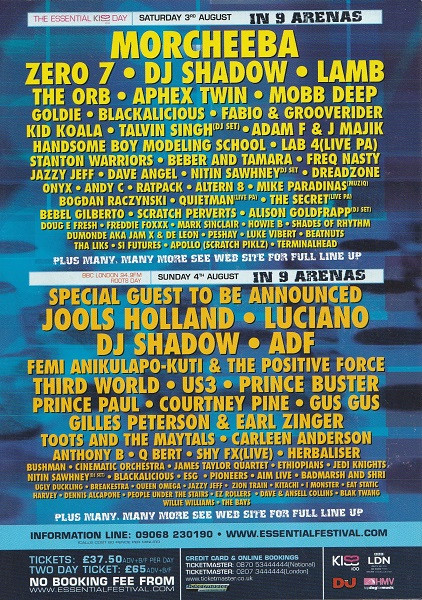 3rd August 2002 - Essential Festival Flyer 1 (Back)