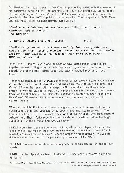 UNKLE Press Release (Back)