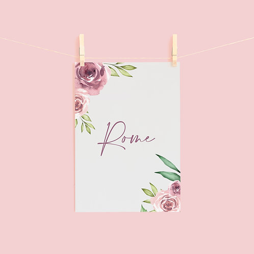 Grey and Dusky Pink Floral Table Name