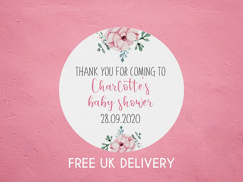 Pink Floral Thank You Baby Shower Stickers