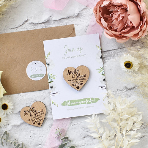 Magnet Save the Dates - Sage Green and White Floral