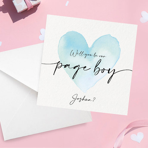 Personalised Page Boy Proposal Card