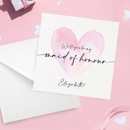 Personalised Maid of Honour Proposal Card