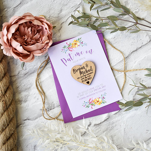 Lilac Spring Wooden Magnet Save the Dates