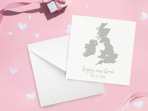 Personalised Map New Home Card