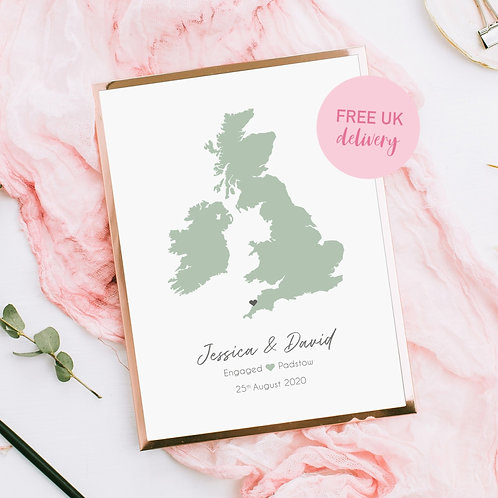Personalised UK Destination Map