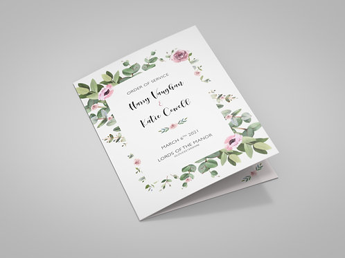 Eucalyptus and Pink Florals Order of Service