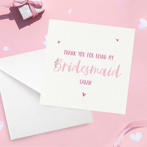 Personalised Floral Bridesmaid Thank You Card