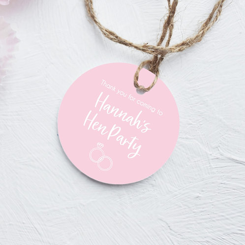Personalised Pink Hen Party Tags