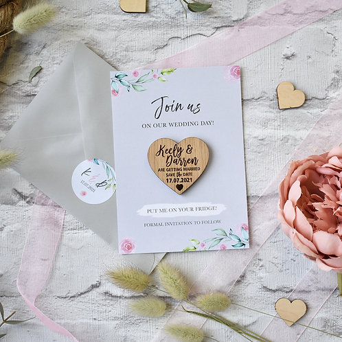 Grey Floral Wooden Magnet Save the Dates