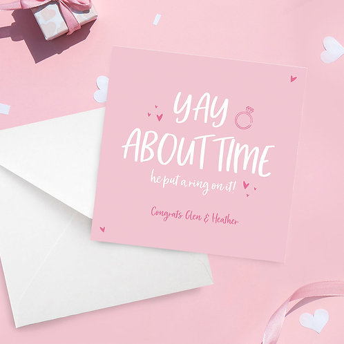 Personalised About Time Engagement Card