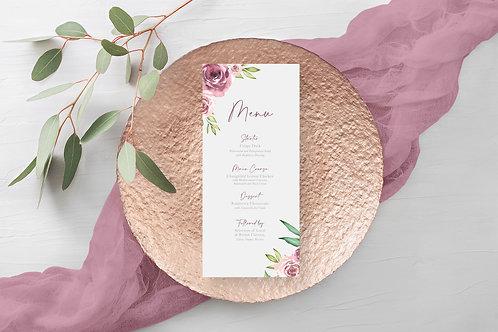 Grey and Dusky Pink Floral Wedding Menu