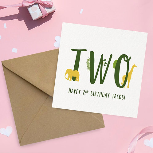 Children's 2nd Birthday Card Animal Theme (Any age)