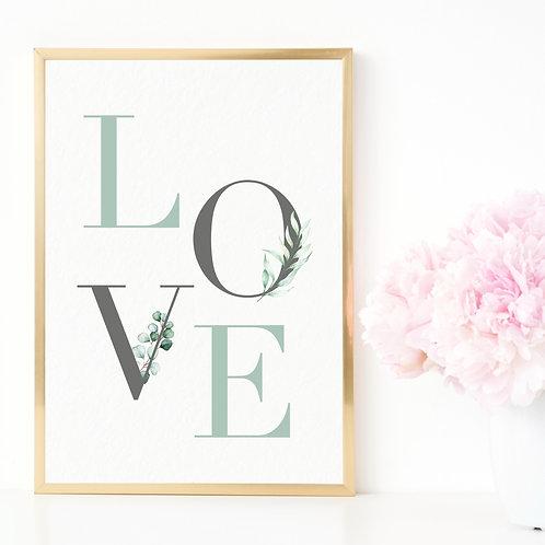 Greenery 'Love' Print