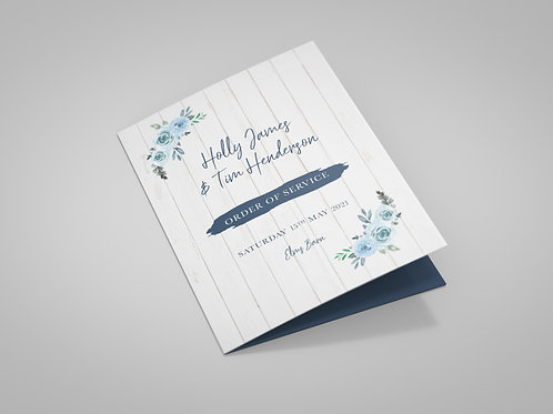 Blue Floral and White Wood Order of Service