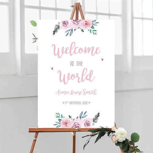 Pink Floral Welcome to the World Sign