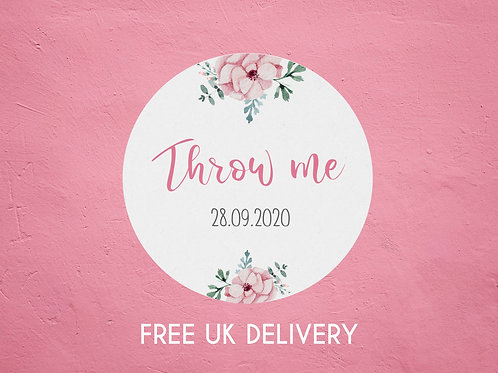 Pink Floral Throw Me Confetti Stickers