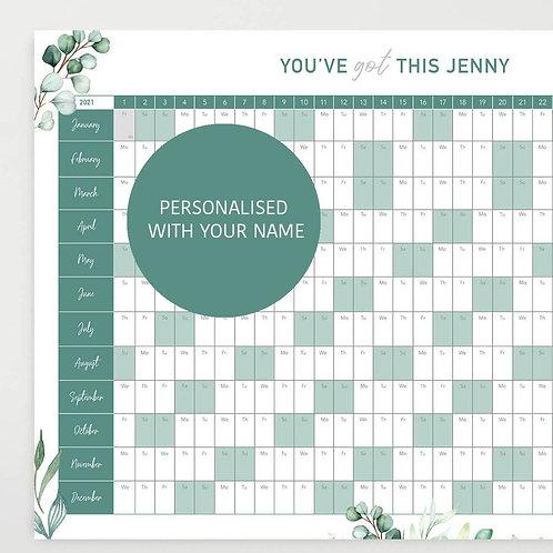 Personalised 2021 Motivational Wall Planner - Eucalyptus