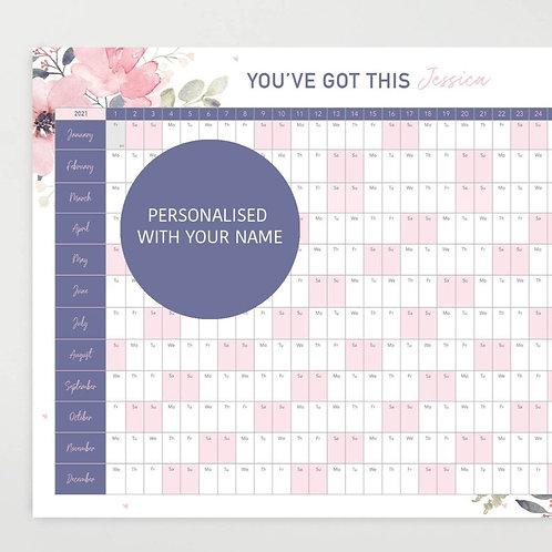 Personalised 2021 Motivational Wall Planner - Purple