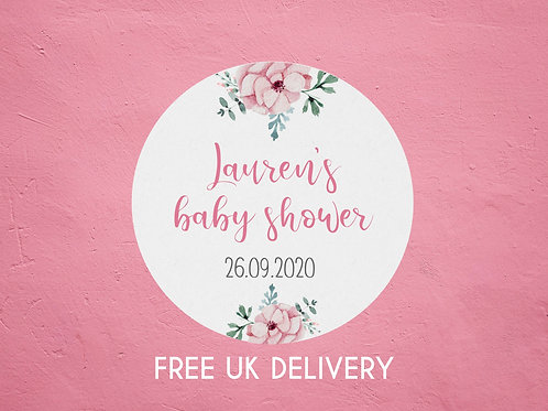 Pink Floral Baby Shower Stickers - with Date