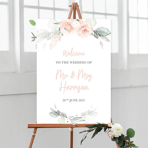 Peach Floral Welcome Sign