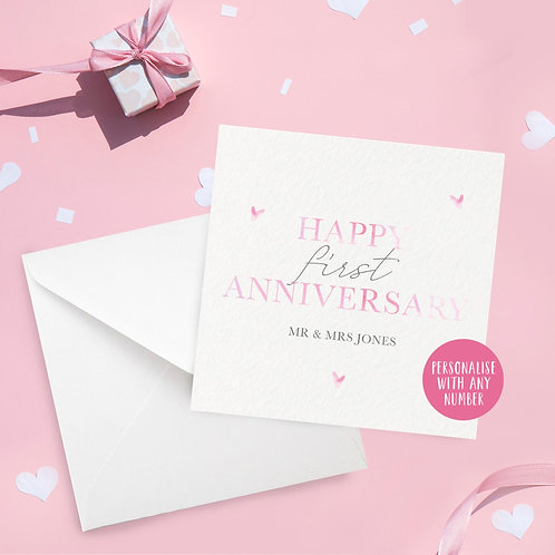 Personalised Watercolour Hearts Anniversary Card
