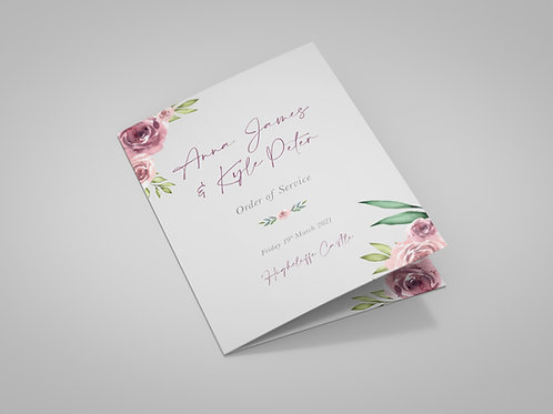 Grey and Dusky Pink Florals Order of Service