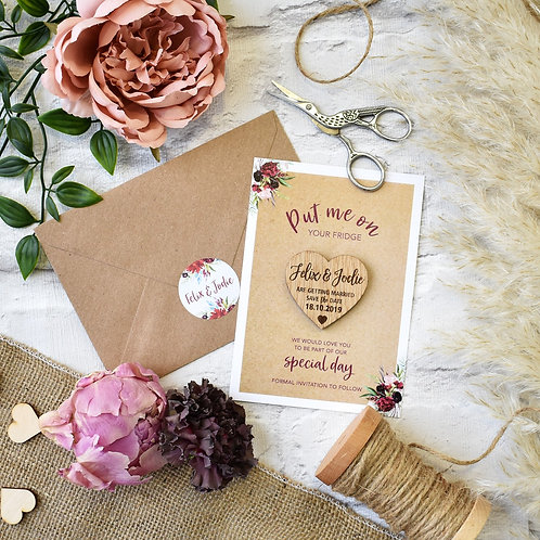 Rustic Wooden Magnet Save the Dates