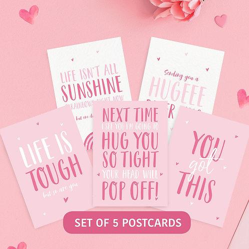 5 Pink Positivity Postcards