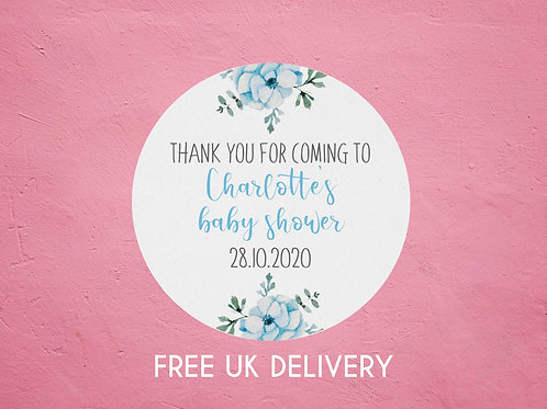 Blue Floral Thank You Baby Shower Stickers