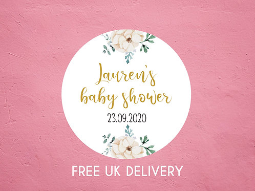 Neutral Floral Baby Shower Stickers